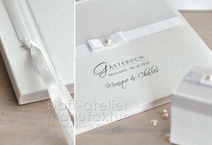 Text Gästebuch Hochzeit  Gästebuch Hochzeit edel in weiß mit Perle