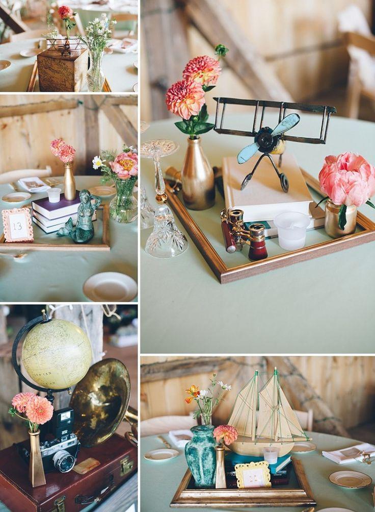 Theme Diy  thrift store travel themed wedding centerpieces