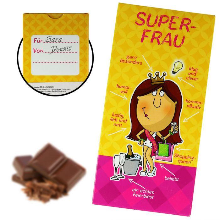 Tolle Geschenke Für Frauen  Super Frau Schokolade besondere Süßigkeit für tolle Frauen