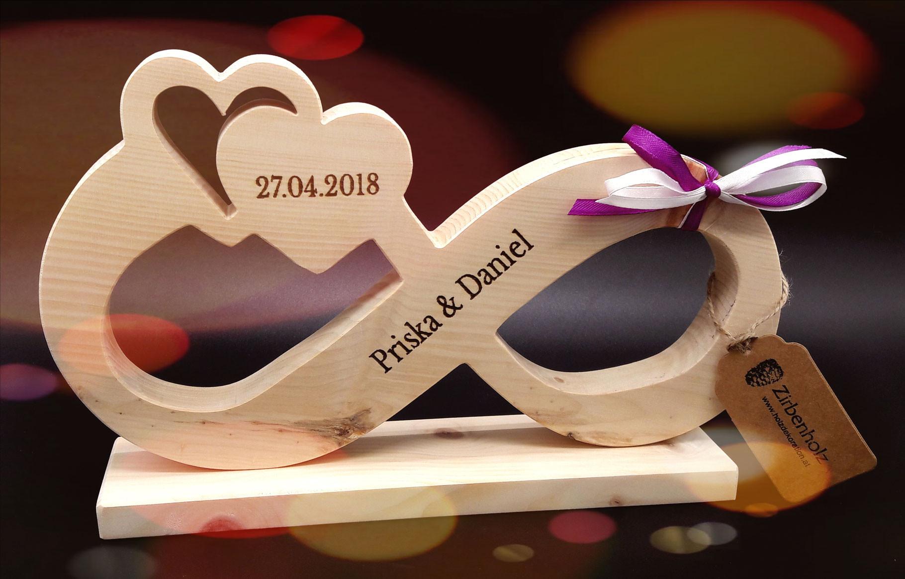 Unendlichkeitszeichen Hochzeit  Hochzeitsgeschenke und Geschenkideen Geschenke aus Holz