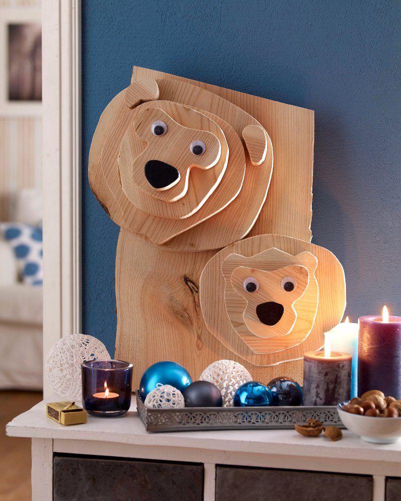 Weihnachts Diy  DIY Weihnachts Bären Dekoration aus Holz creadoo