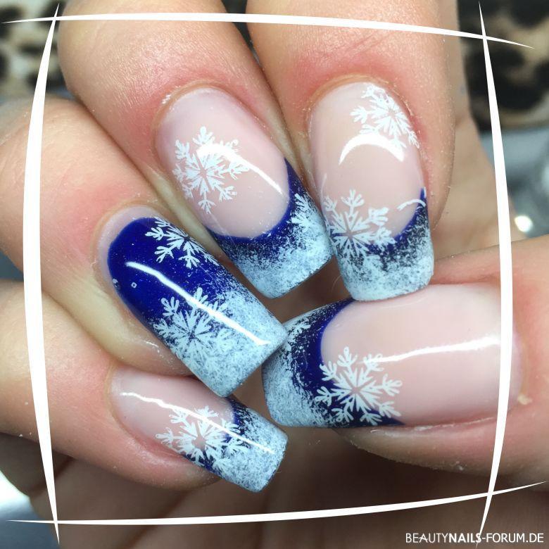 Weihnachts Nageldesign  50 Blaue Nägel mit tollem Nageldesign blaue Ideen