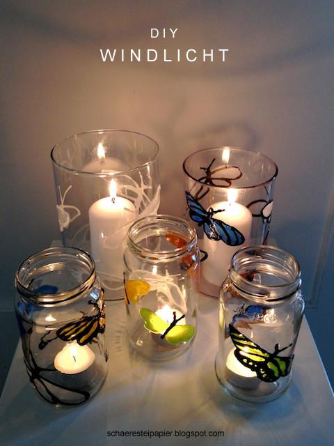 Windlicht Diy  schaeresteipapier DIY Windlicht mit bunten Schmetterlingen