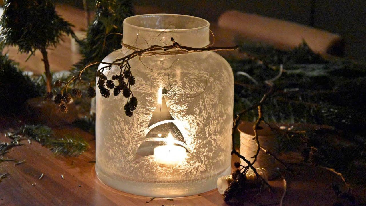 Windlicht Diy  DIY Windlicht Frosteffekt