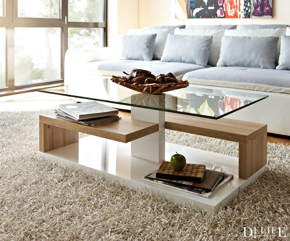 Wohnzimmer Tisch  Wohnzimmertisch Susa Weiss Sonoma Eiche Dekor 105x59