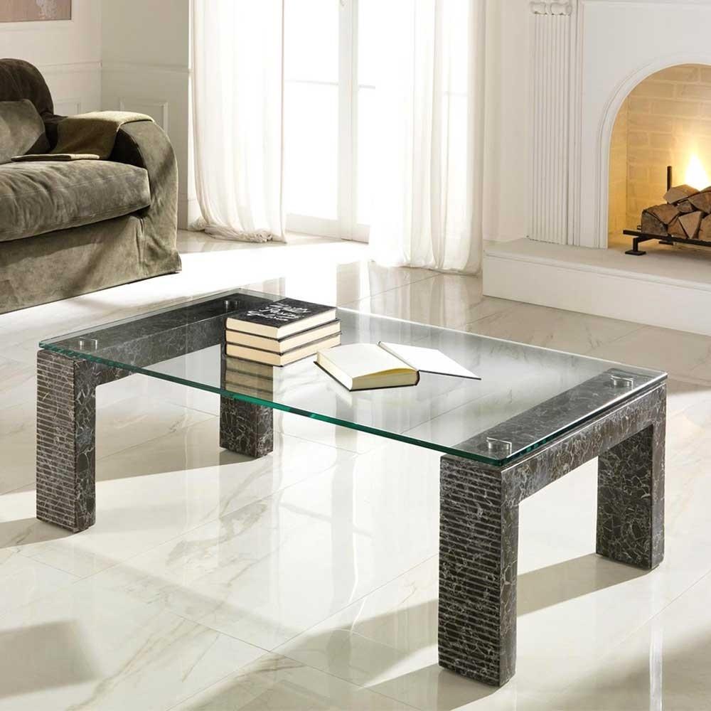 Wohnzimmer Tisch  Wohnzimmertisch Funchas aus Stein und Glas