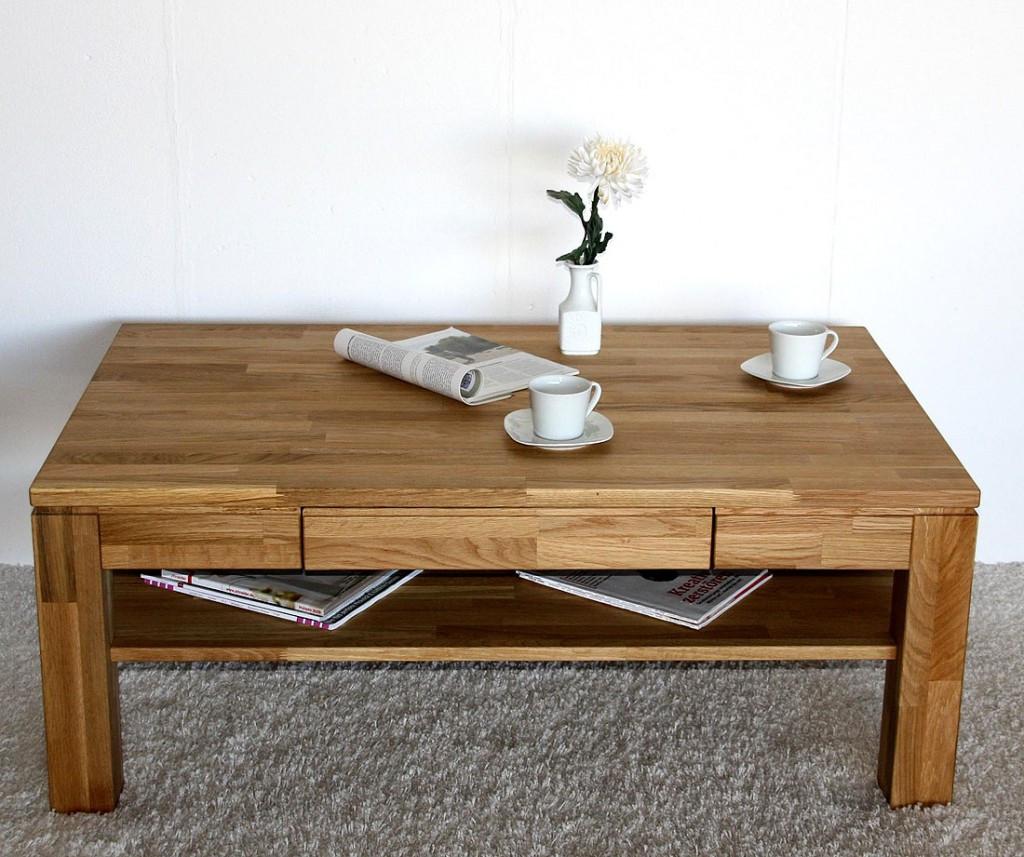 Wohnzimmer Tisch  Massivholz Couchtisch Wohnzimmertisch Asteiche massiv