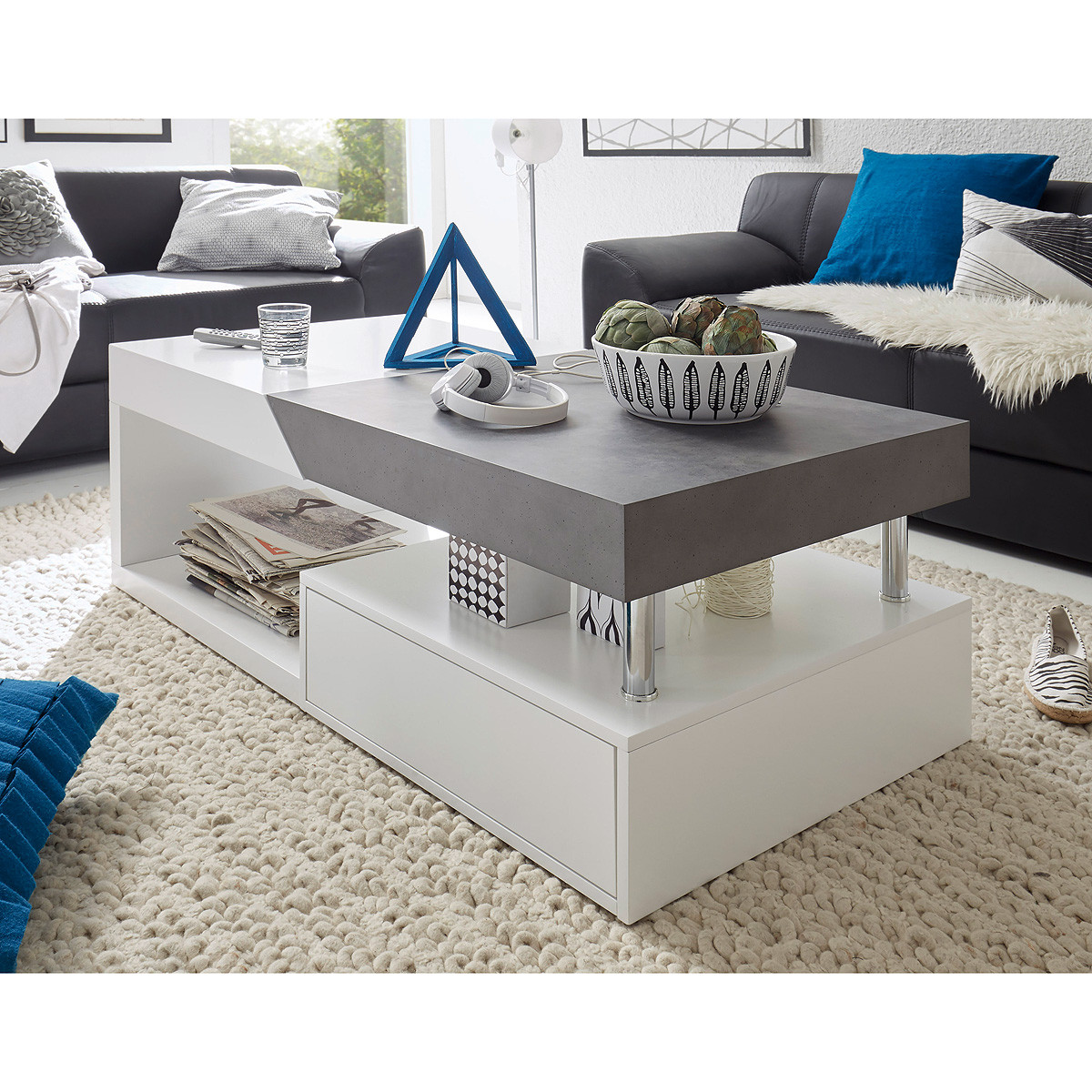 Wohnzimmer Tisch  Couchtisch Wohnzimmertisch Hopes Beistelltisch in weiß