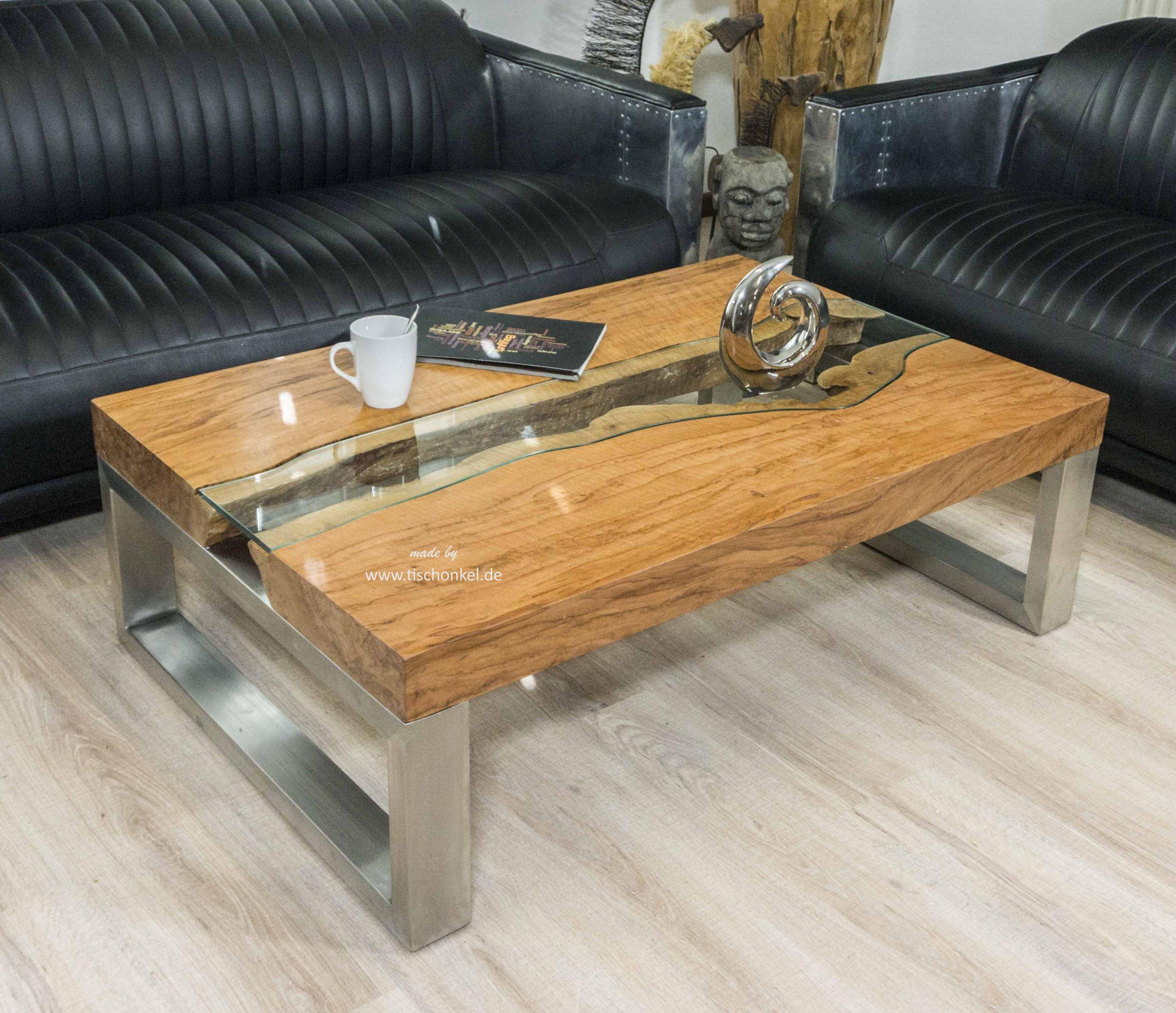 Wohnzimmer Tisch  Eckiger Designer Wohnzimmertisch 120 x 80 cm aus Holz
