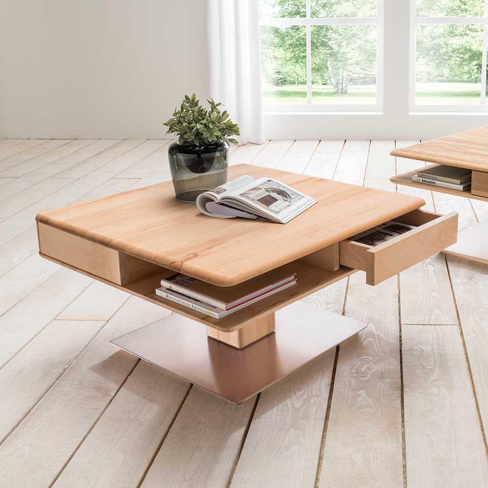 Wohnzimmer Tisch  Wohnzimmertisch Tanazon aus Kernbuche Massivholz Pharao24
