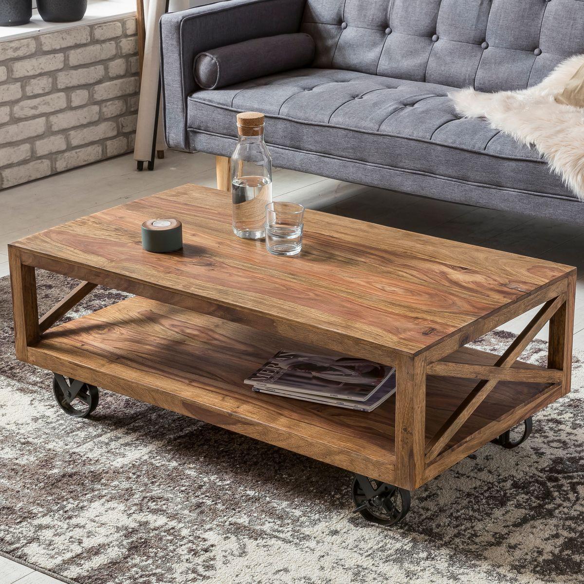 Wohnzimmer Tisch  WOHNLING Couchtisch PALI Massiv Holz Sheesham 110 cm breit