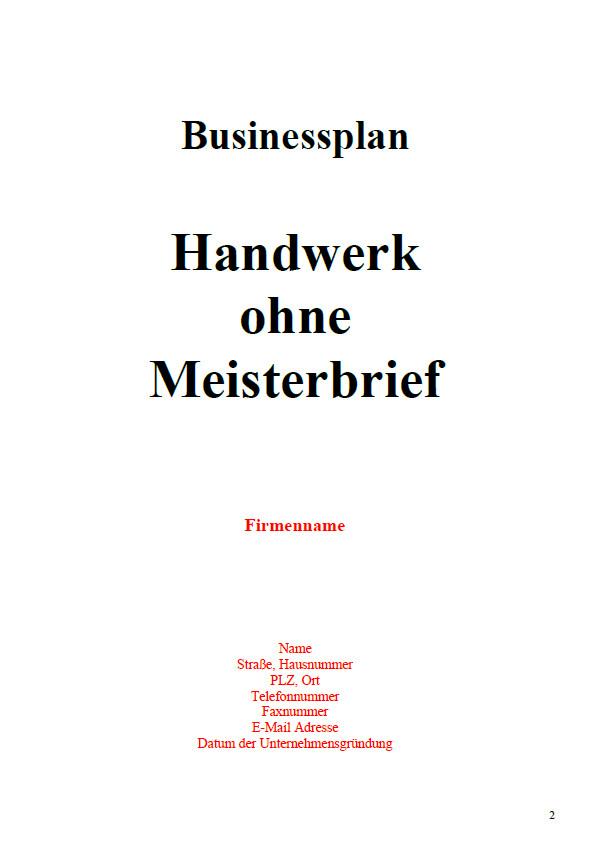 Zulassungsfreies Handwerk Ohne Gesellenbrief  Businessplan arbeitsamt vorlage kostenlos köstlich