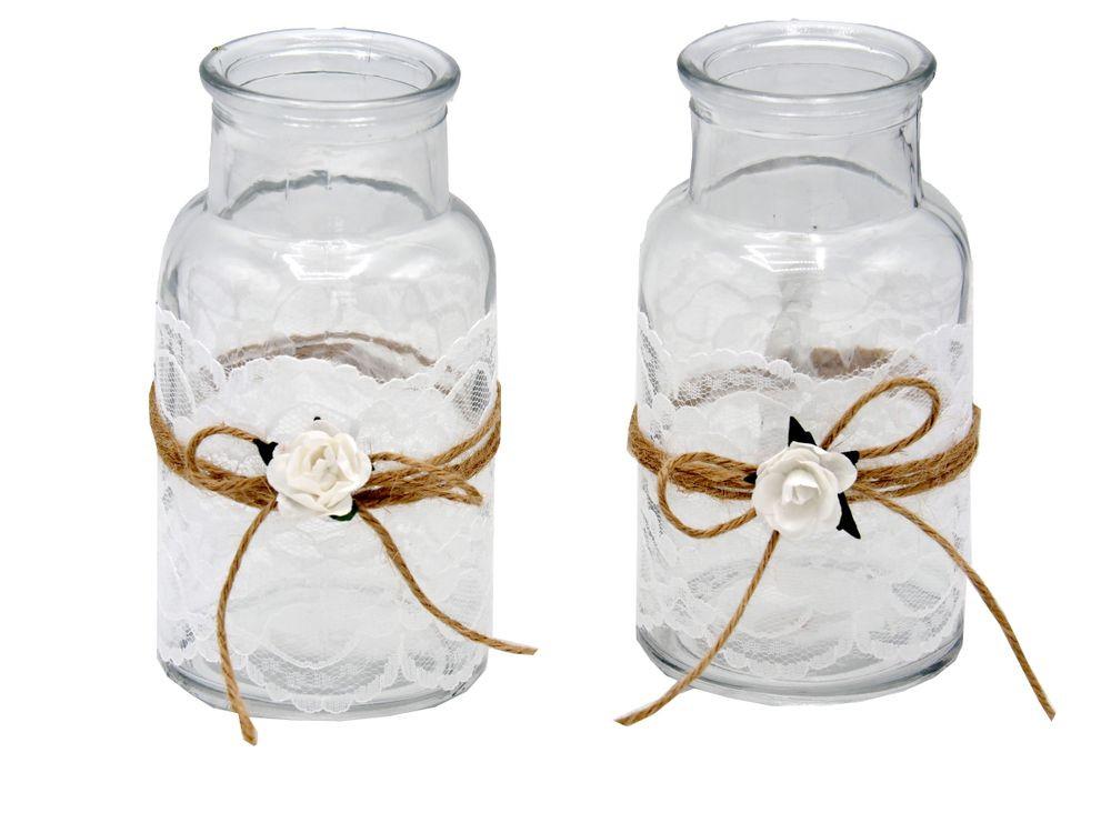 2 Hochzeit  2 Vasen Hochzeit Vintage Tischdeko Spitze Weiß MIRA