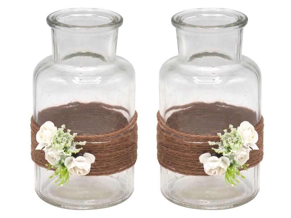 2 Hochzeit  2 Vasen Hochzeit Vintage Weiß Rosen ELLA Hochzeit
