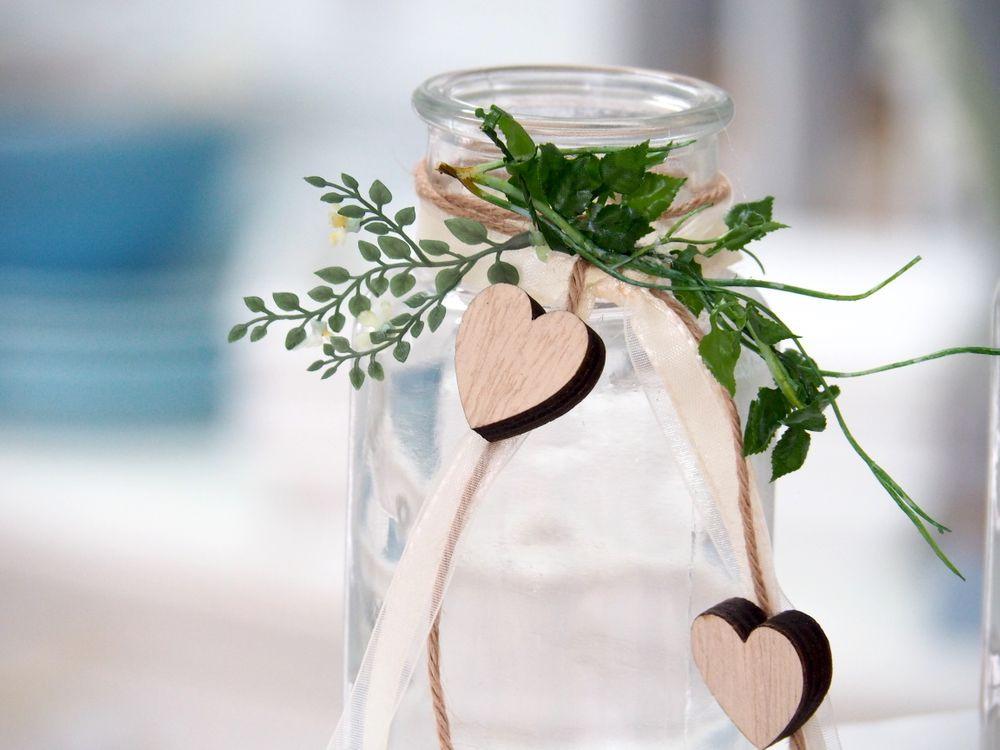 2 Hochzeit  2 Vasen Hochzeit Vintage Tischdeko Gläser Herz Deko