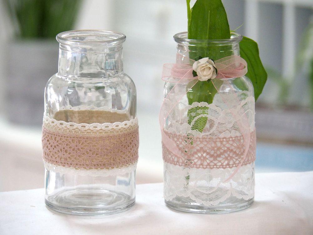 2 Hochzeit  2 Vasen Hochzeit Vintage Tischdeko Gläser Spitze Rosa