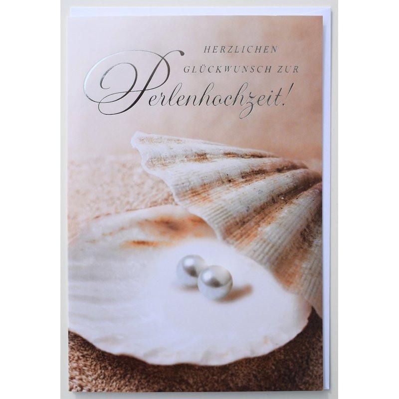 30 Hochzeitstag Geschenke Perlenhochzeit  Glückwunschkarte Perlenhochzeit 30 Jahre Hochzeitstag