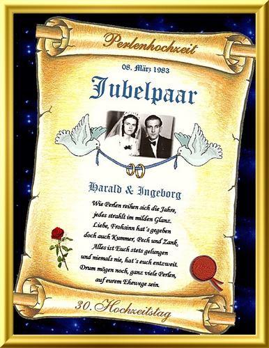 30 Hochzeitstag Geschenke Perlenhochzeit  Geschenk Perlenhochzeit 30 Hochzeitstag Urkunde
