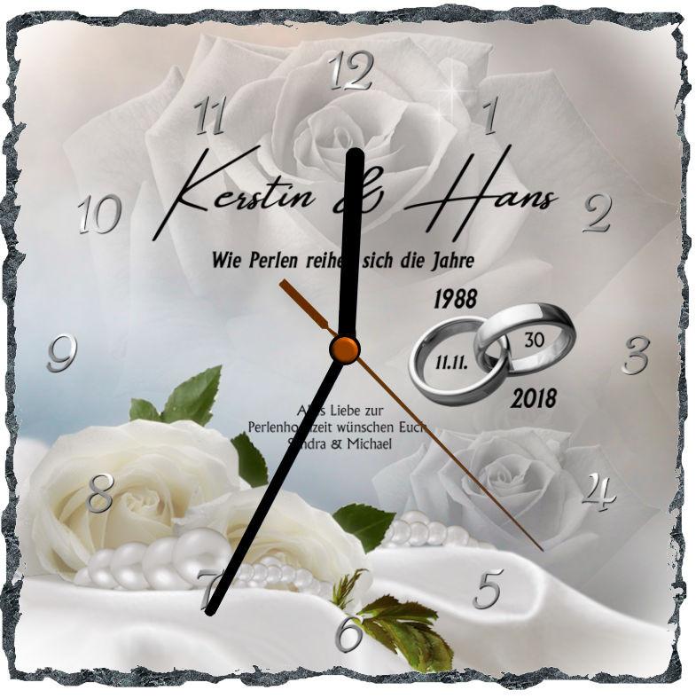 30 Hochzeitstag Geschenke Perlenhochzeit  perlenhochzeit geschenk zum 30 hochzeitstag Fotouhr
