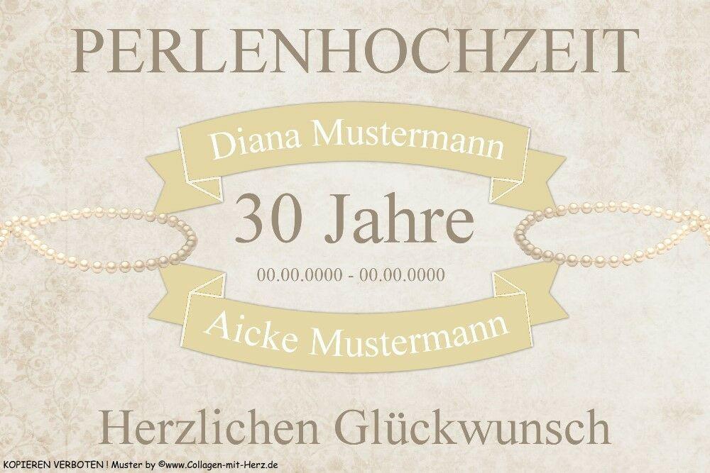 30 Hochzeitstag Geschenke Perlenhochzeit  Schild Geschenk PERLENHOCHZEIT 30 Jahre INDIVIDUELL
