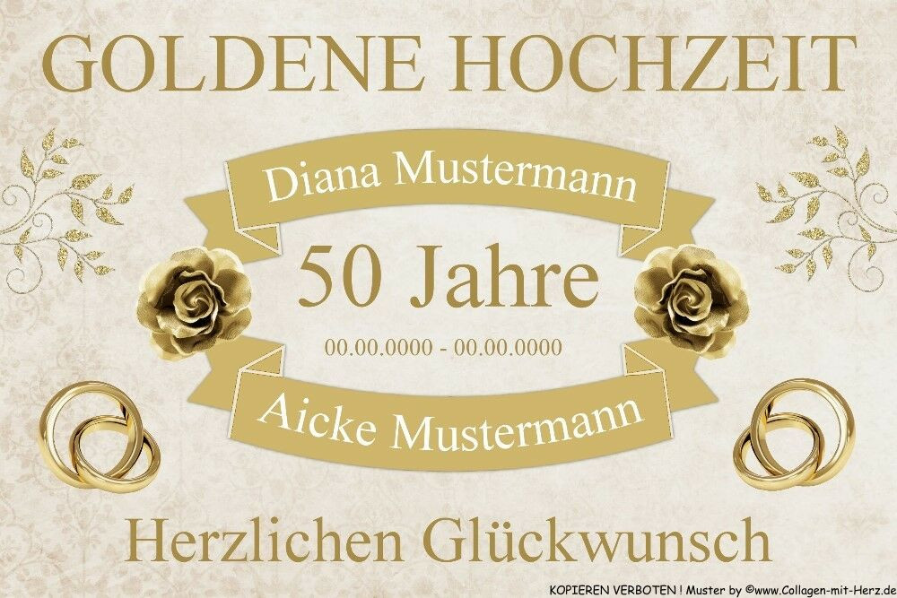 50 Jahre Hochzeit  Schild Geschenk GOLDENE HOCHZEIT 50 Jahre INDIVIDUELL