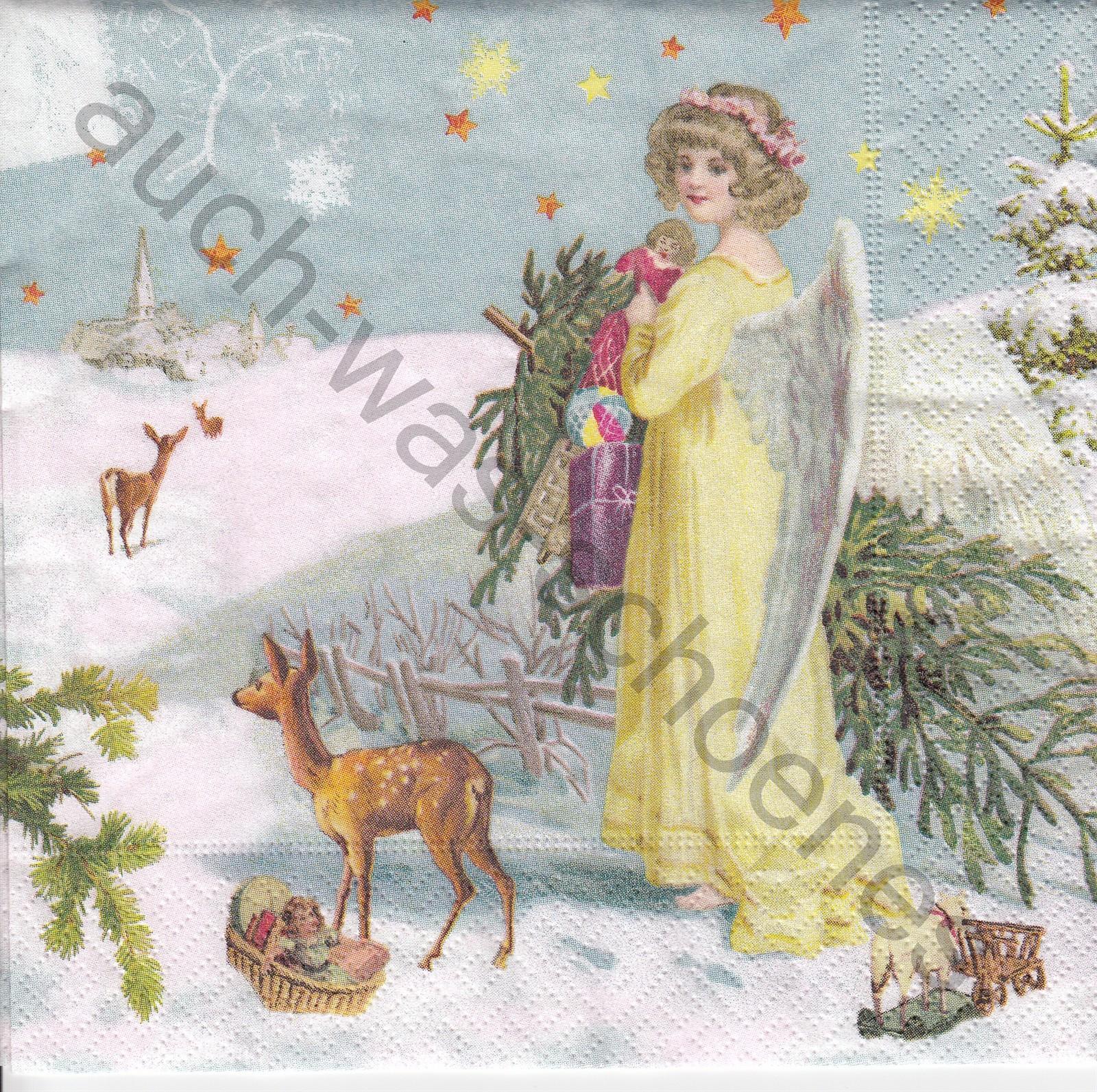 Angel Geschenke  Servietten basteln sammeln Engel Reh Christbaum