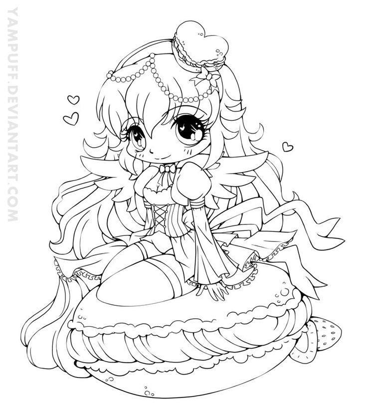 Anime Ausmalbilder Chibi  YamPuff Food Chibi Girls Coloring Pages