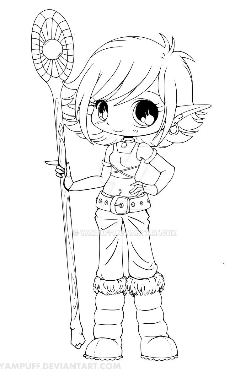 Anime Ausmalbilder Chibi  Lana Snow Elf Chibi Lineart by YamPuff on DeviantArt