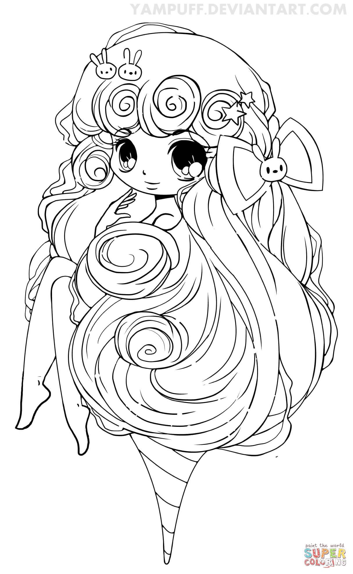 Anime Ausmalbilder Chibi  Ausmalbild Chibi Zuckerwatte Mädchen