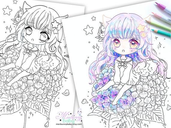 Anime Ausmalbilder Chibi  Chibi Mädchen auf Hortensie Malvorlagen süße Anime Manga
