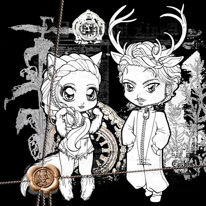 Anime Ausmalbilder Chibi  Wolf Deer Chibi Lineart P2U by Chibivi Linearts on