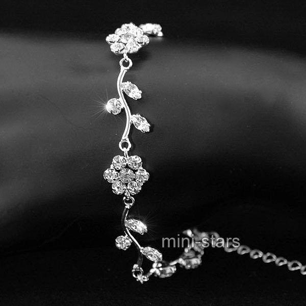 Armband Hochzeit  Hochzeit Mode Blumen Klare Strass Silber Armband B011
