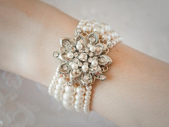 Armband Hochzeit  AUBRIE Braut Armband Swarovski Perle Hochzeit Armband