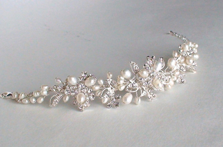 Armband Hochzeit  Hochzeit Armband Perle Strass Armband Braut Accessoires