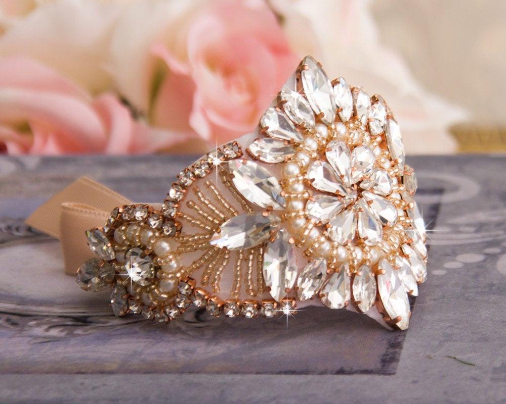 Armband Hochzeit  Rose Gold Hochzeit Armband Braut Armreif Strass Crystal