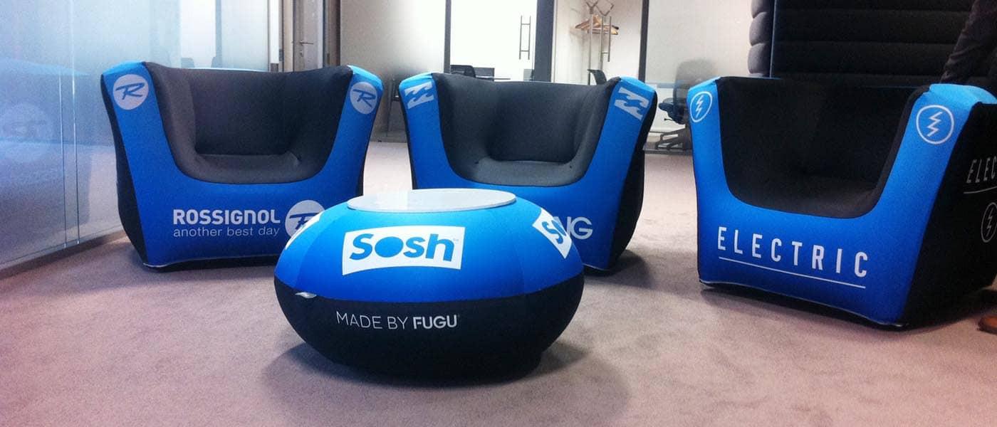 Aufblasbarer Sessel  FUGU CUBRICK aufblasbarer Sessel inkl Aufdruck Nord