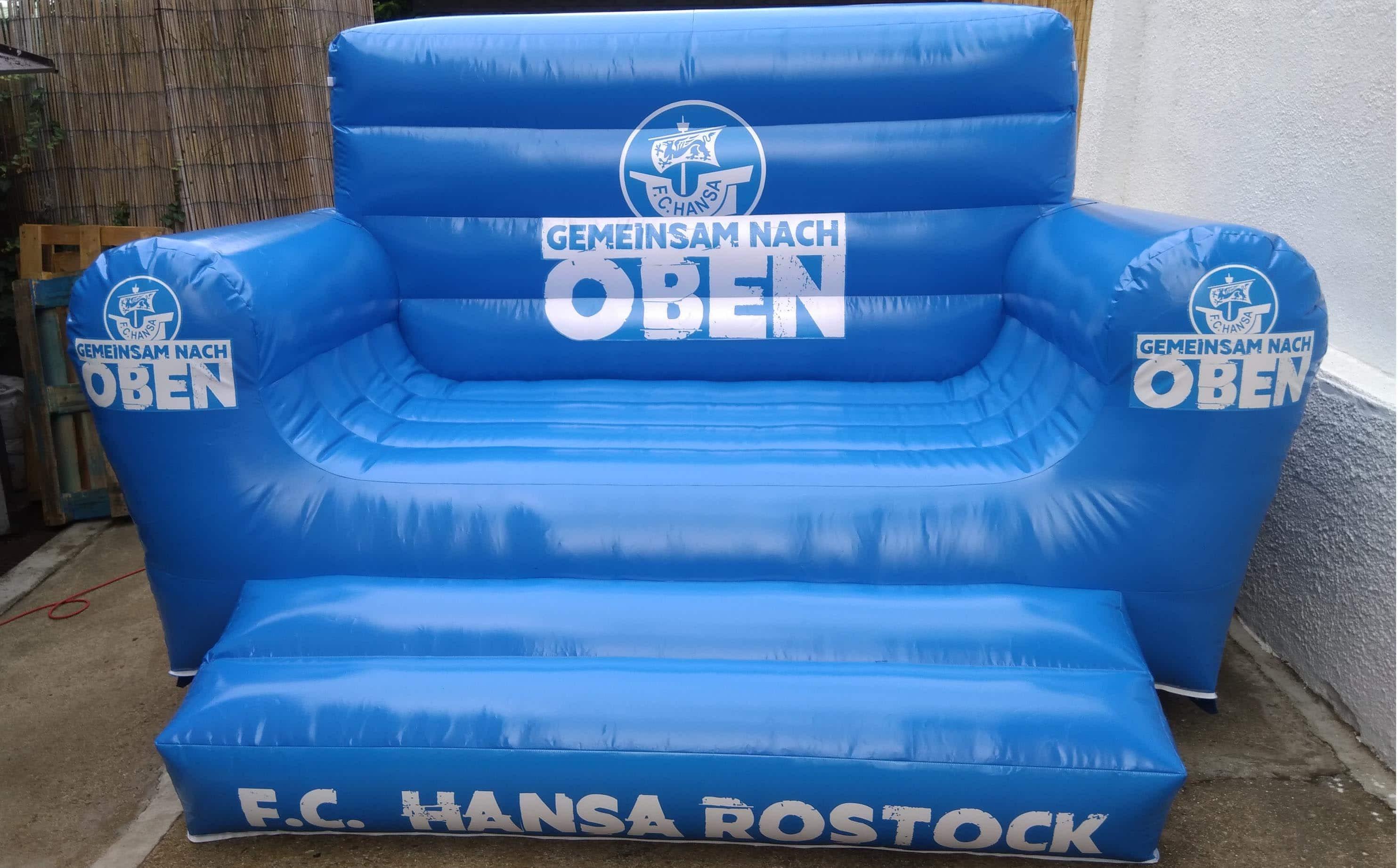 Aufblasbares Sofa  Aufblasbares Riesen Sofa Hansa Rostock AIR promotion