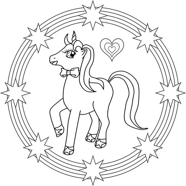 Ausmalbilder Einhorn Mandala  Das kleines Einhorn Mandala für Kinder zum Ausdrucken
