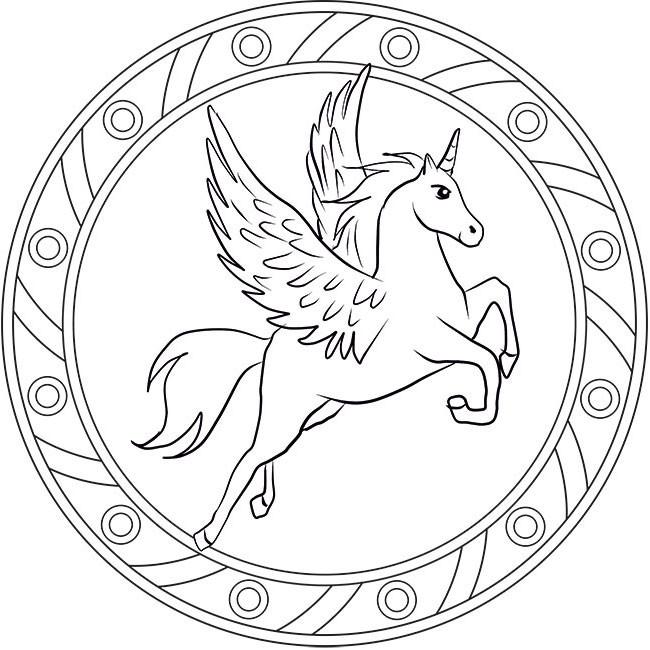 Ausmalbilder Einhorn Mandala  Pegasus Kostenloses Mandala Ausmalbild