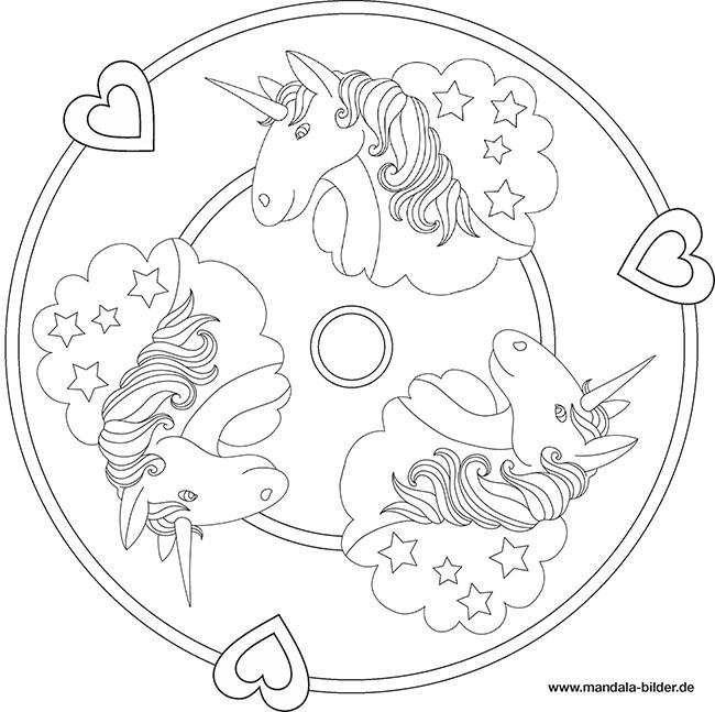 Ausmalbilder Einhorn Mandala  Einhorn Kostenlose Mandala für Kinder