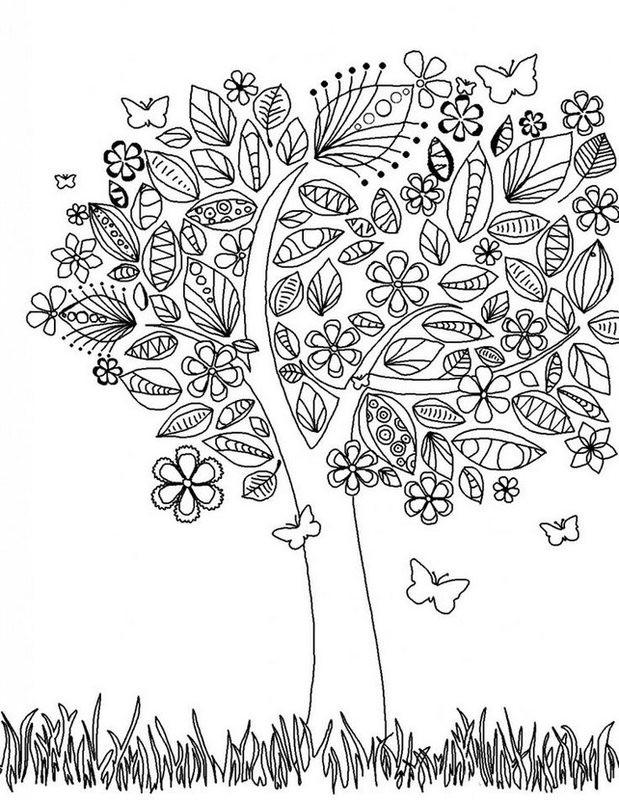 Ausmalbilder Erwachsene Natur  Frühling Ausmalbilder für Erwachsene kostenlos zum Ausdrucken