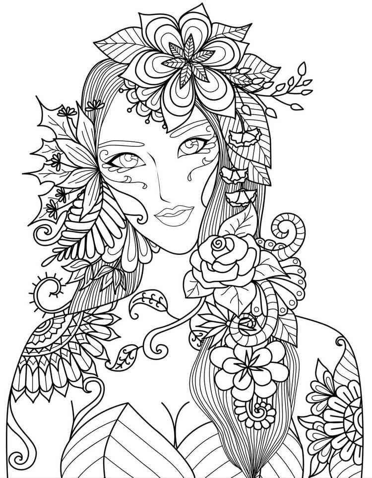 Ausmalbilder Erwachsene Natur  Frau mit Blumenmotiven Anime