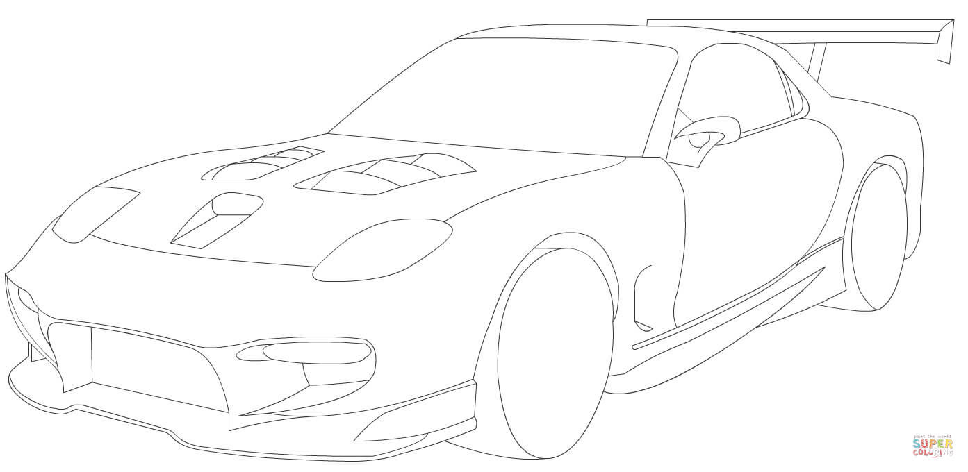 Ausmalbilder Fast And Furious  Ausmalbild Mazda RX 7 Sport