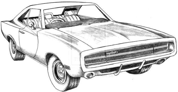 Ausmalbilder Fast And Furious  Fast And Furious Dodge Charger Cars Nissan Sketch Coloring