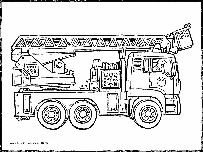 Ausmalbilder Feuerwehrauto  Feuerwehr kleurprenten kiddimalseite