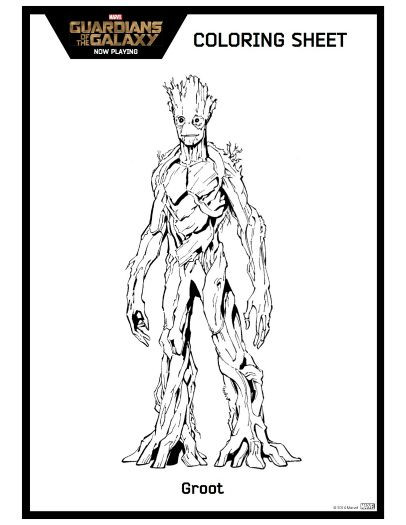 Ausmalbilder Guardians Of The Galaxy  Guardians of the Galaxy Groot Coloring Sheet
