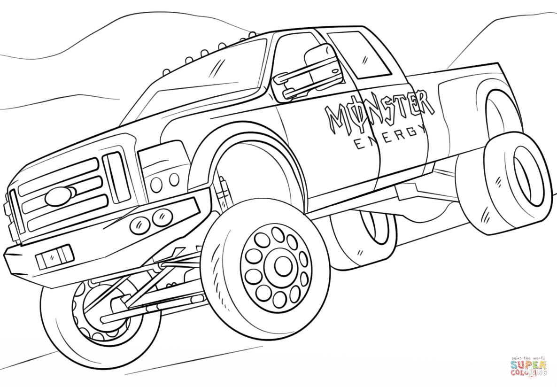 Ausmalbilder Monster Truck  Ausmalbild Monster Energy Monster Truck