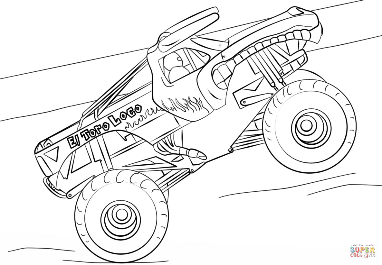 Ausmalbilder Monster Truck  Ausmalbild El Toro Loco Monster Truck