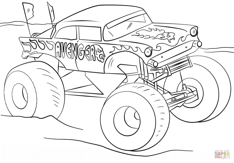 Ausmalbilder Monster Truck  Ausmalbild Avenger Monster Truck