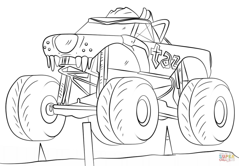 Ausmalbilder Monster Truck  Ausmalbild Taz Monster Truck